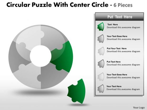 Sales Diagram Circular Puzzle Diagram Circle 6 Pieces Ppt Strategic Management
