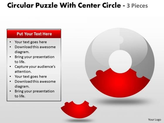 Sales Diagram Circular Puzzle With Center Circle 2 And 3 Pieces Strategy Diagram