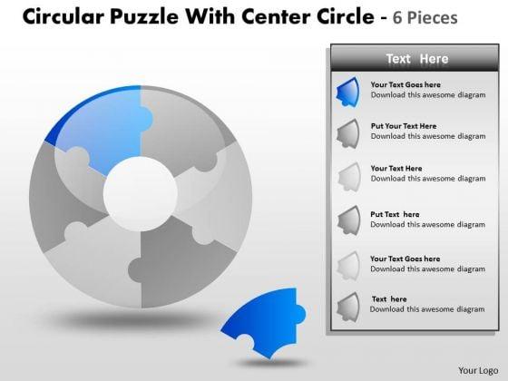 Sales Diagram Circular Puzzle With Center Circle 6 Pieces Strategic Management
