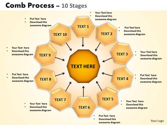 Sales Diagram Comb Process 10 Stages PowerPoint Slides Strategy Diagram