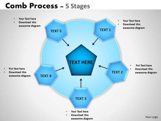Sales Diagram Comb Process 5 Stages Business Diagram