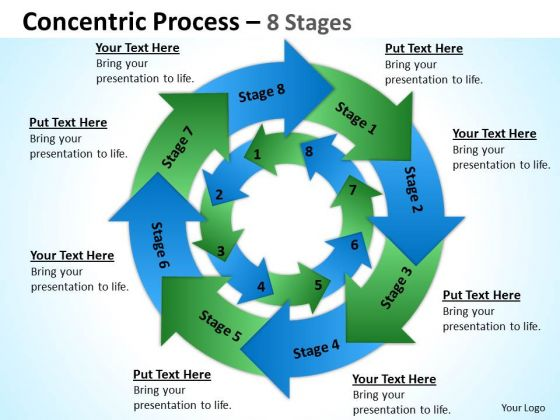 Sales Diagram Concentric Process 8 Stages 4 Business Diagram