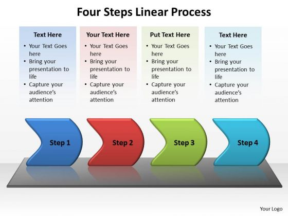 Sales Diagram Four Steps Linear Process Business Framework Model