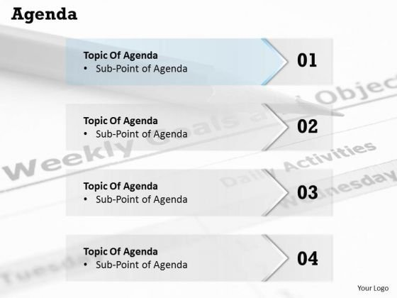 Sales Diagram Four Steps Of Agenda Topic Display Consulting Diagram