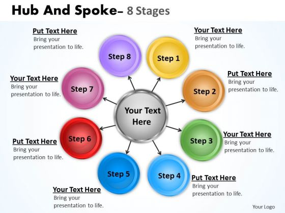 Sales Diagram Hub And Spoke 8 Stages Consulting Diagram