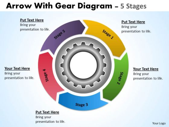 Sales Diagram Illustration Of 5 Stages Multicolored Flow Chart With Gears Marketing Diagram