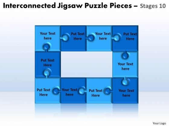 Sales Diagram Interconnected Jigsaw Puzzle Pieces Stages 10 Consulting Diagram