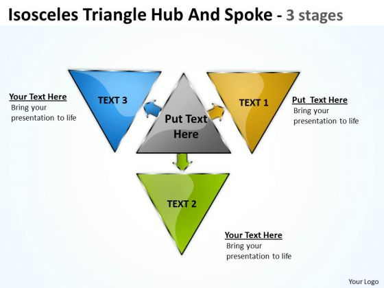 Sales Diagram Isosceles Triangle Hub And Spoke 3 Stages Marketing Diagram