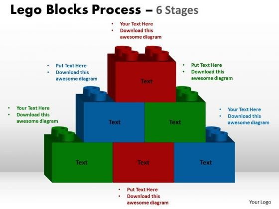 Sales Diagram Lego Blocks Process 6 Stages Business Diagram