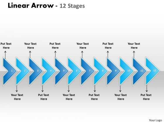 Sales Diagram Linear Arrow 12 Stages Consulting Diagram