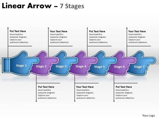 Sales Diagram Linear Arrow 7 Stages Marketing Diagram