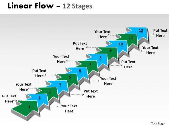 Sales Diagram Linear Flow 12 Stages Business Diagram