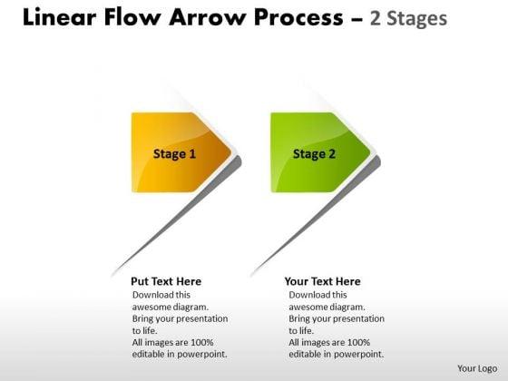 Sales Diagram Linear Flow Arrow Process 2 Stages