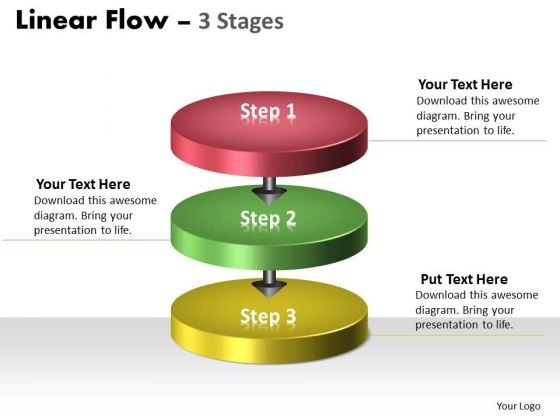 Sales Diagram Linear Flow Colorful 3 Stages Marketing Diagram
