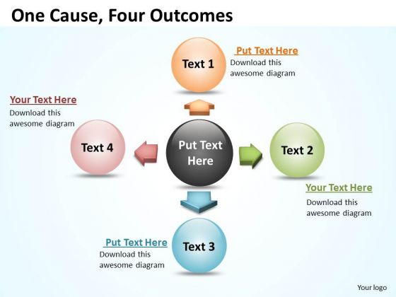 Sales Diagram One Cause Four Outcomes Business Framework Model