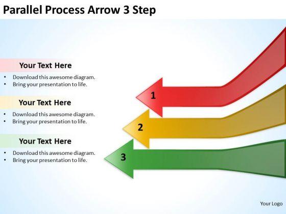 Sales Diagram Paralle Process Arrow 3 Step Strategy Diagram