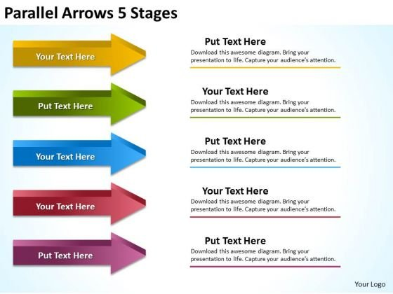 Sales Diagram Parallel Arrows 5 Stages Strategy Diagram