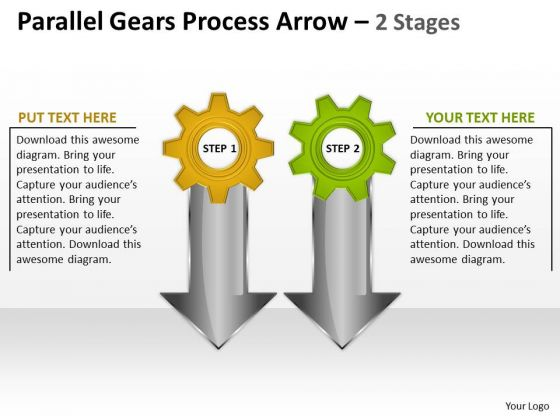 Sales Diagram Parallel Gears Process Arrow 2 Stages Business Framework Model