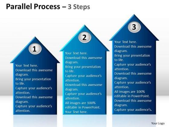 Sales Diagram Parallel Process 3 Step Strategy Diagram