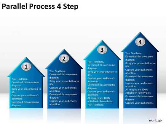 Sales Diagram Parallel Process 4 Step Consulting Diagram