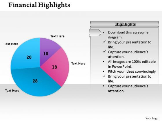 Sales Diagram Pie Chart For Financial Result Business Diagram