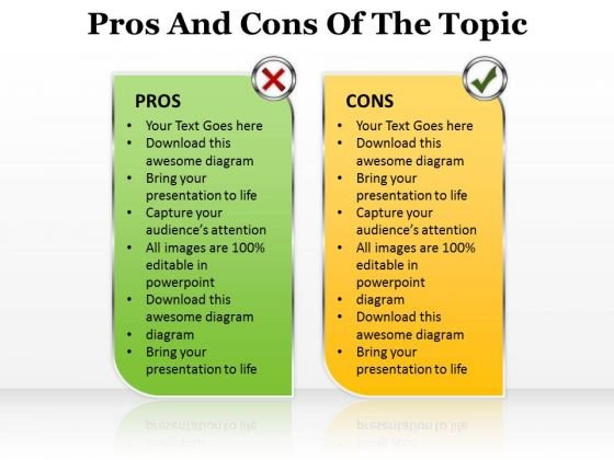 Sales Diagram Pros And Cons Of The Topic Editable Marketing Diagram