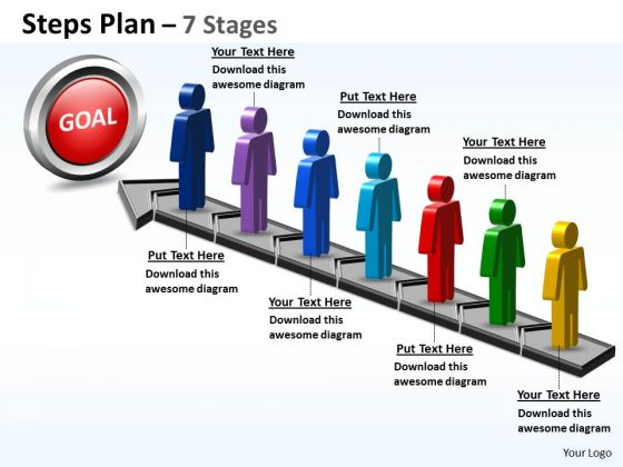 Sales Diagram Steps Plan 7 Stages Style Business Diagram