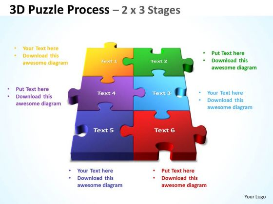 Sales Diagram Strategy Diagram 3d Puzzle Process 2 X 3 Stages Mba Models And Frameworks