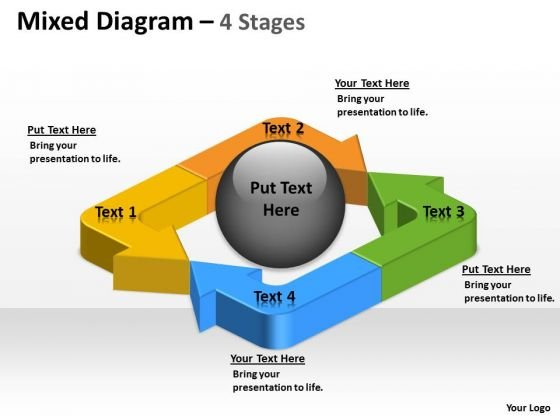 Sales Diagram Unidirectional Mixed Arrow Diagram 4 Stages Mba Models And Frameworks