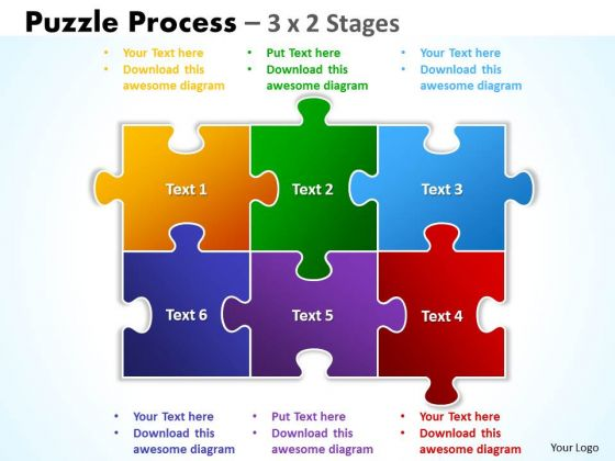 Srategy Diagram Puzzle Process 3 X 2 Stages Business Diagram