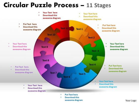 Strategic Management 11 Components Circular Puzzle Process Sales Diagram