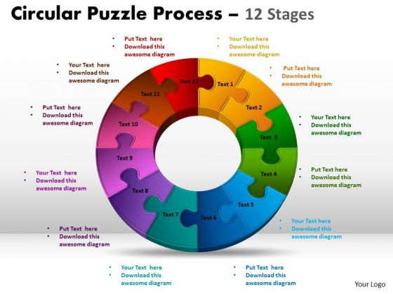 Strategic Management 12 Components Flow Circular Puzzle Process Sales Diagram