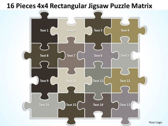 Strategic Management 16 Pieces 4x4 Rectangular Jigsaw Puzzle Matrix Business Diagram