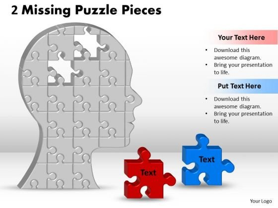 Strategic Management 2 Missing Puzzle Piece In Silhouette Brain Sales Diagram