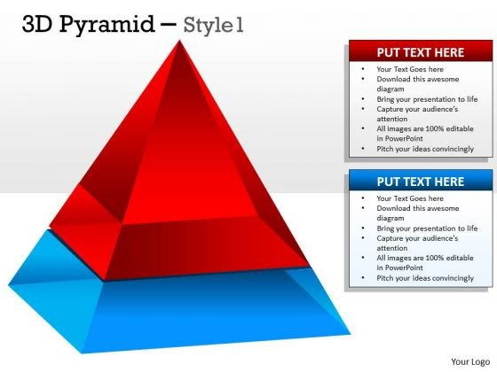Strategic Management 2 Staged 3d Pyramid Sales Diagram