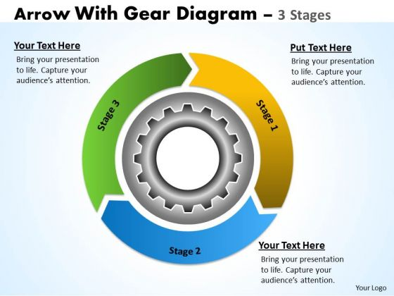 Strategic Management 3 Stages Gear Mechanism With Circular Arrows Consulting Diagram