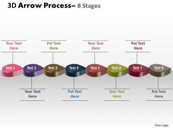 Strategic Management 3d Circle Arrow 8 Stages Business Diagram