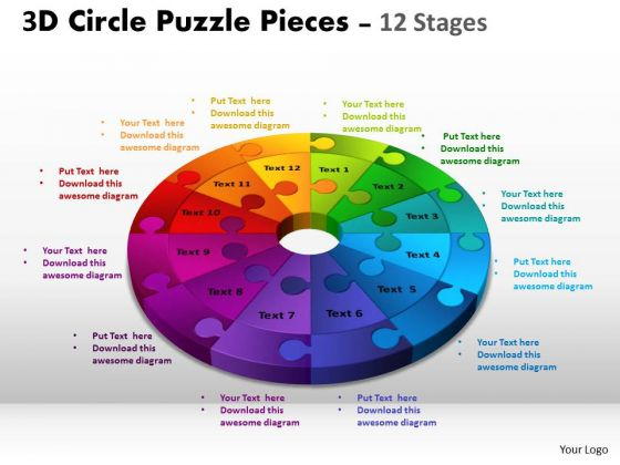 Strategic Management 3d Circle Puzzle Diagram 12 Stages Slide Layout Sales Diagram