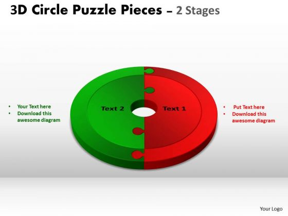 Strategic Management 3d Circle Puzzle Diagram 2 Stages Slide Layout Strategy Diagram