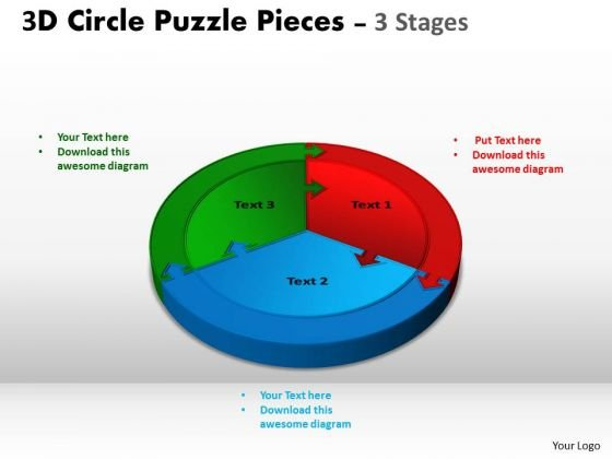 Strategic Management 3d Circle Puzzle Diagram 3 Stages Business Diagram