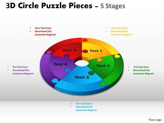 Strategic Management 3d Circle Puzzle Diagram 5 Stages Slide Layout Sales Diagram
