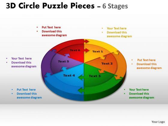 Strategic Management 3d Circle Puzzle Diagram 6 Stages Business Diagram