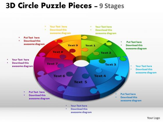 Strategic Management 3d Circle Puzzle Diagram 9 Stages Buainess Diagram