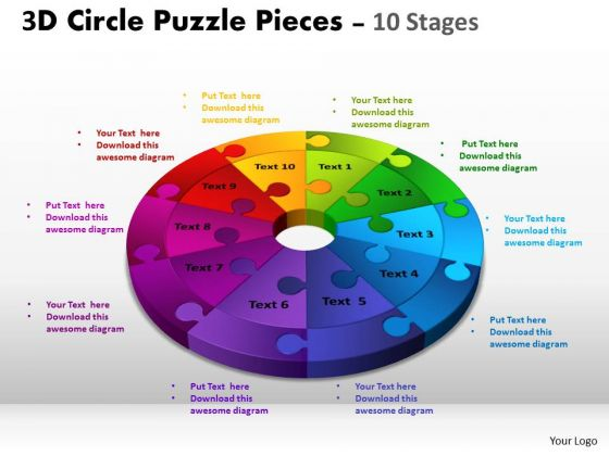 Strategic Management 3d Circle Puzzle Diagram Flow Slide Layout Business Diagram