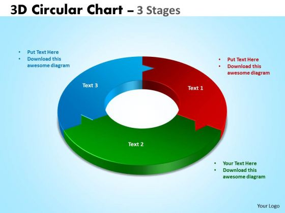 Strategic Management 3d Circular Chart 3 Stages Templates Sales Diagram