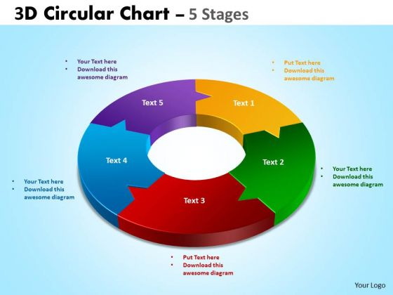 Strategic Management 3d Circular Chart 5 Stages Sales Diagram
