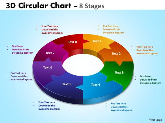 Strategic Management 3d Circular Chart 8 Stages Business Diagram