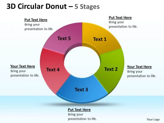 Strategic Management 3d Circular Donut 5 Stages Sales Diagram