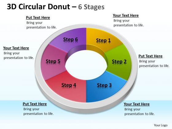 Strategic Management 3d Circular Donut 6 Stages Circular Business Diagram