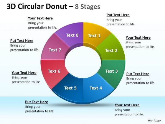 Strategic Management 3d Circular Donut 8 Stages Diagrams Business Diagram